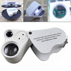 Dual Lens 30x 60x Handheld Mini Pocket Microscope Loupe Jeweler Magnifier LED Light Fantastic