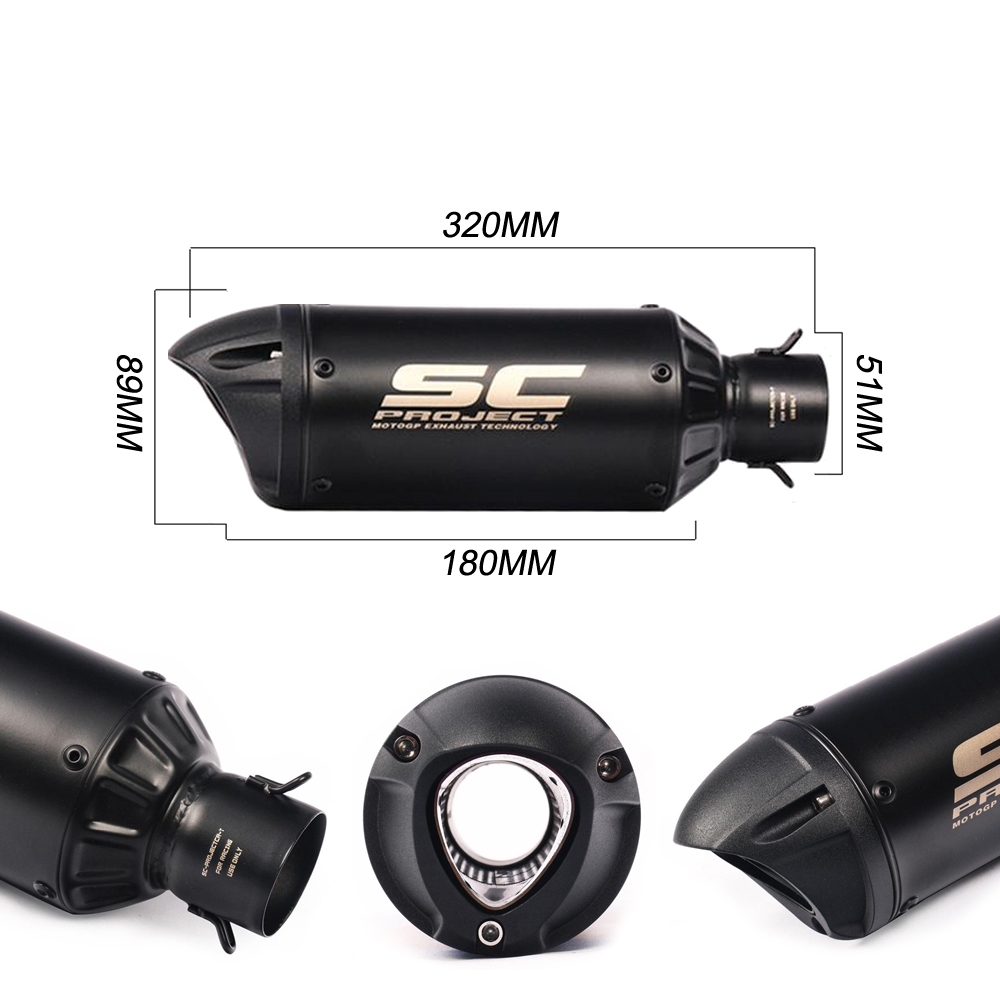 Universal SC Project Black Exhaust Silencer with Black Cap, 36-51mm Muffler Pipe for all Bikes/ Motorcycle