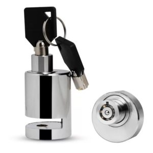Round Chrome Heavy Duty Disc Brake Lock Anti Theft Stainless Steel 7 mm Pin for Motorcycle Scooter Bike Bicycle, Security Safety Brake Lock with 2 Keys