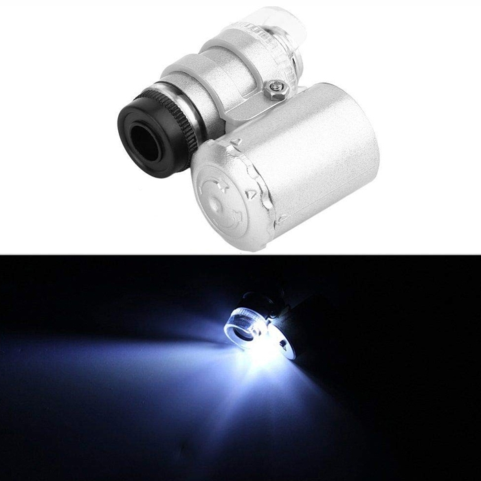 Mini 60x Magnifier Jewelers Loupe Loop Magnifying Glass Pocket Professional Microscope UV Currency Detector With LED Light