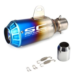 SC Project Small Rainbow Blue Head (Rocket) Exhaust Silencer & Muffler Pipe for all Bike for all Bikes/ Motorcycle