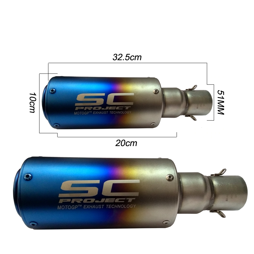 Universal SC Project Rainbow Long Exhaust Silencer, Muffler Pipe & DB Killer for all Bikes/ Motorcycle