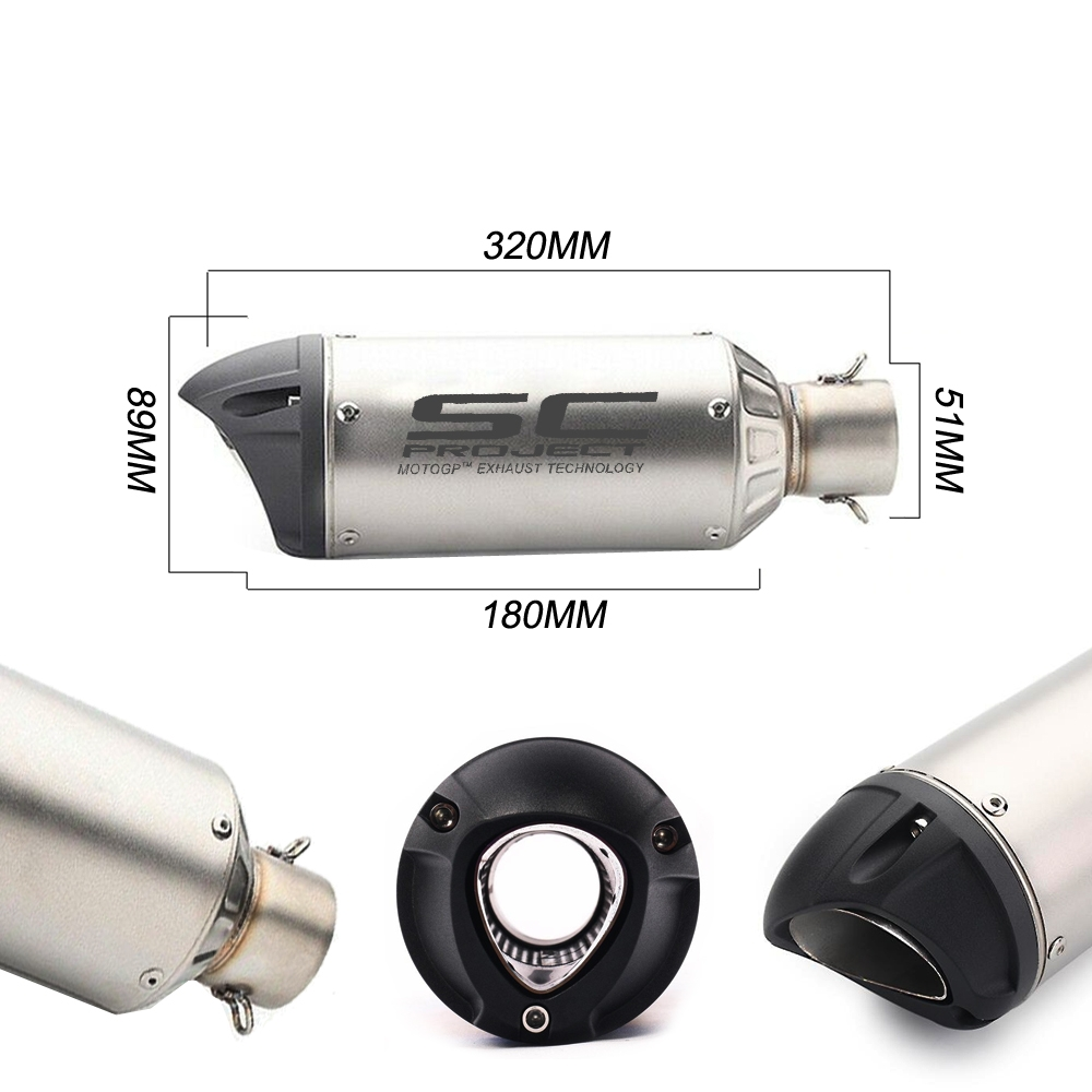 Universal SC Project Silver Exhaust Silencer with Black Cap, 36-51mm Muffler Pipe for all Bikes/ Motorcycle