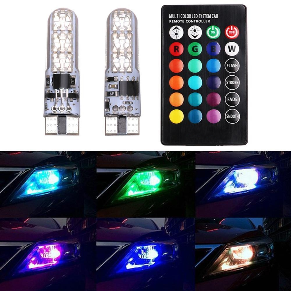 T10 RGB 6 SMD LED Car/ Bike Parking Lights Bulb Remote Control 13+ Strobe Effect with Memory Function