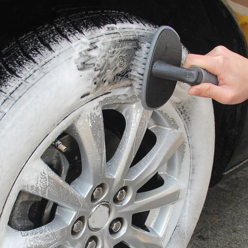 Tyre Brush Wheel Cleaning Tire Brush Rim Scrub Brush Cleaner Tyre Auto Truck Motorcycle Bike Wheel Brush Washing Hub Cleaning Tool