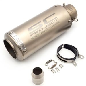 Universal SC Project Silver Matte Finish Exhaust Silencer Pipe 51-60 mm Muffler Pipe for all Indian Bikes/ Motorcycle