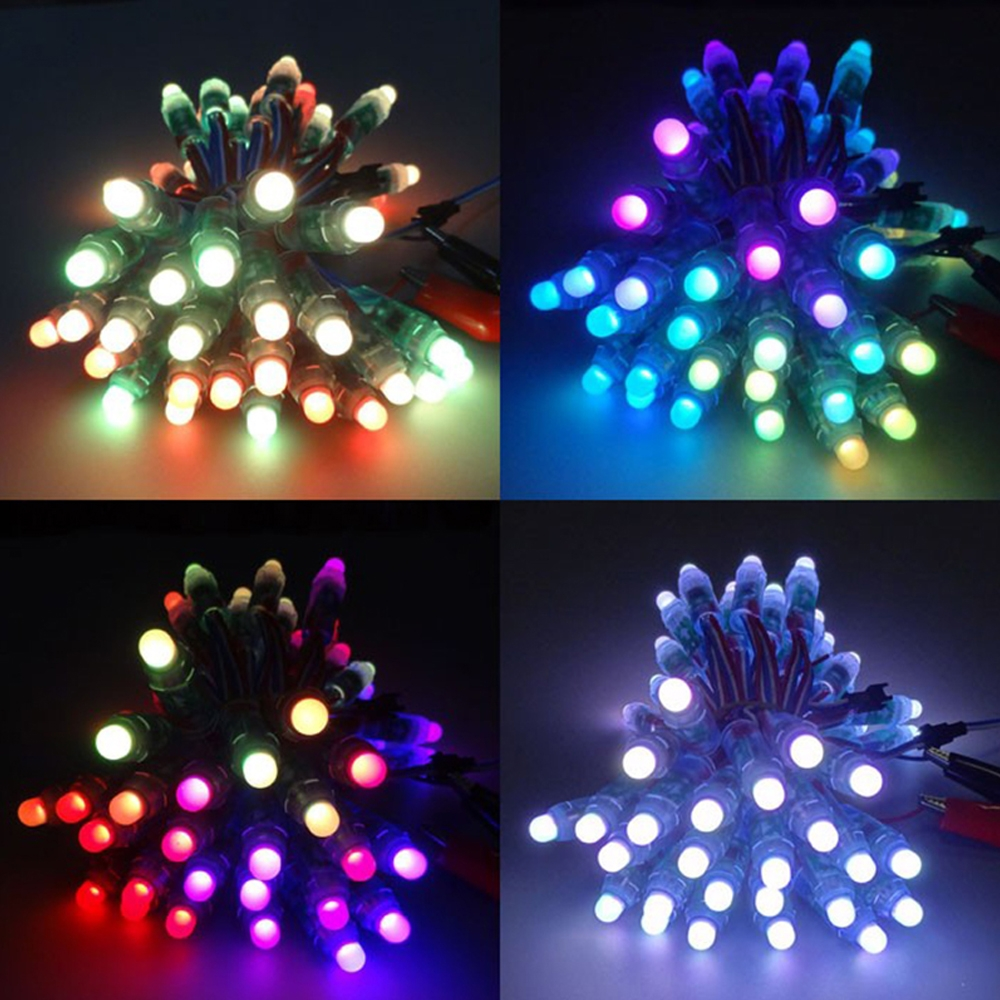 50 Pcs 12mm WS2811 RGB Full Color Pixel LED Light Module with 2811 IC, Waterproof IP68, LED Control Module & 5V DC Power Adapter
