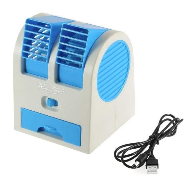 Mini Air Cooler Fan USB & Battery Powered Portable Dual Blower Desk Table Fan Bladeless