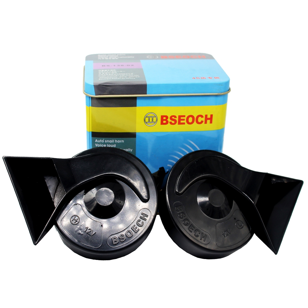 BSEOCH 12V Wind Tone Horn 110dB 510Hz Auto Dual Snail Horn Clear & Natural Loud Sound for Car & Bikes (Set of 2)