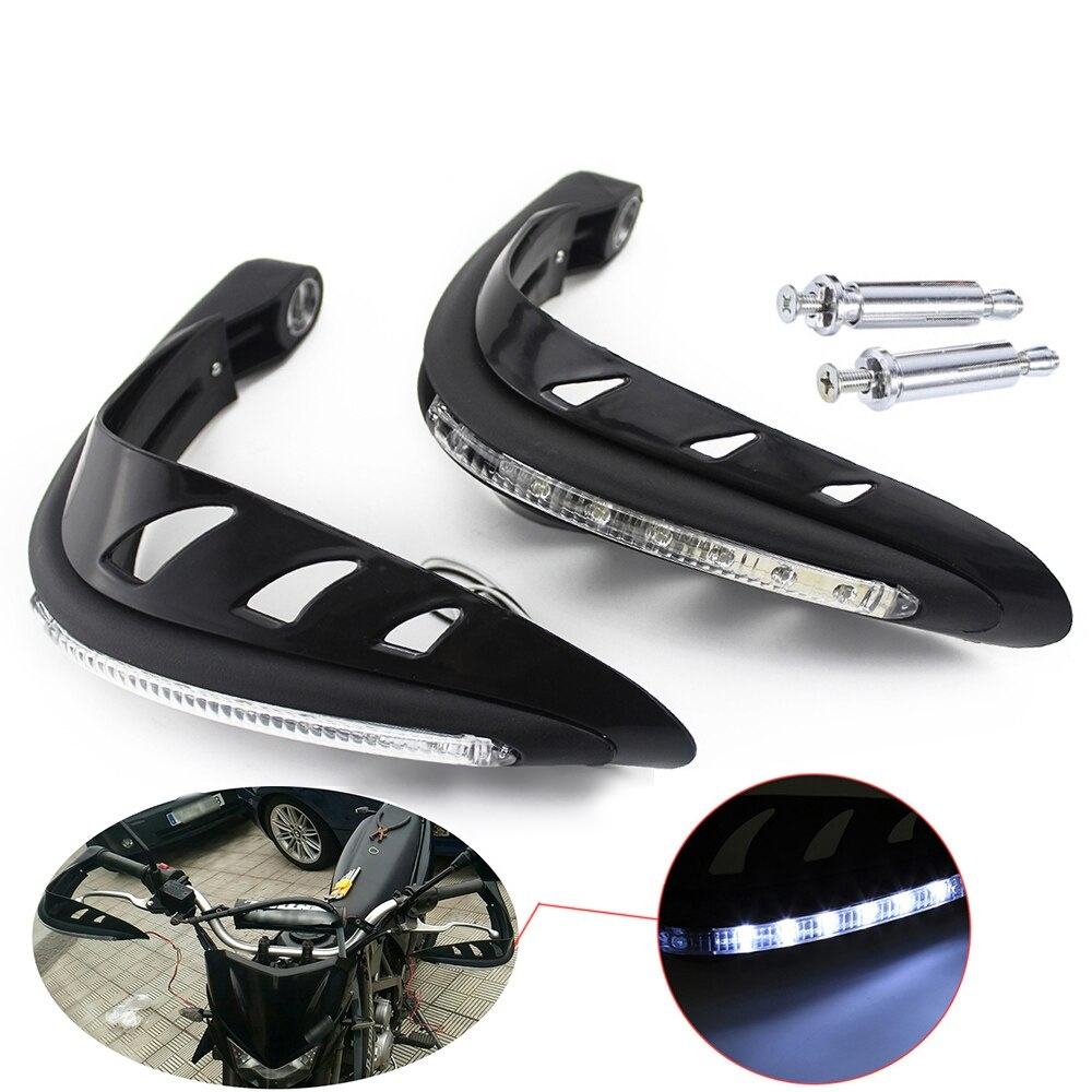 Black Universal Hand Guard Protector with LED Indicator Light, Knuckle Guards for Motorcycle & Dirt Bike with Mounting Kit