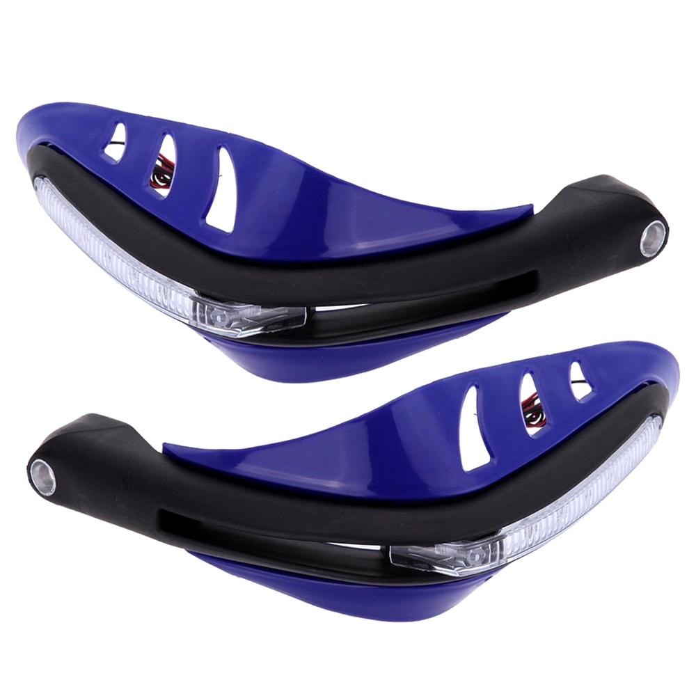 Blue Universal Hand Guard Protector with LED Indicator Light, Knuckle Guards for Motorcycle & Dirt Bike with Mounting Kit