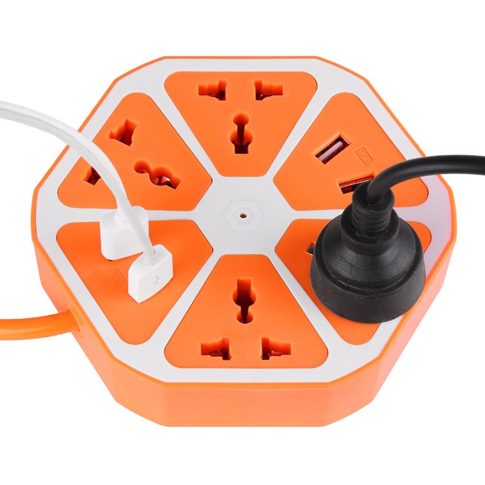 Hexagon Extension Board with 4 Sockets + 4 USB Ports (2.0 Amp), Multi Switched Socket USB Hexagon Charging Station EU Plug Multi Plug Use for Home & Office