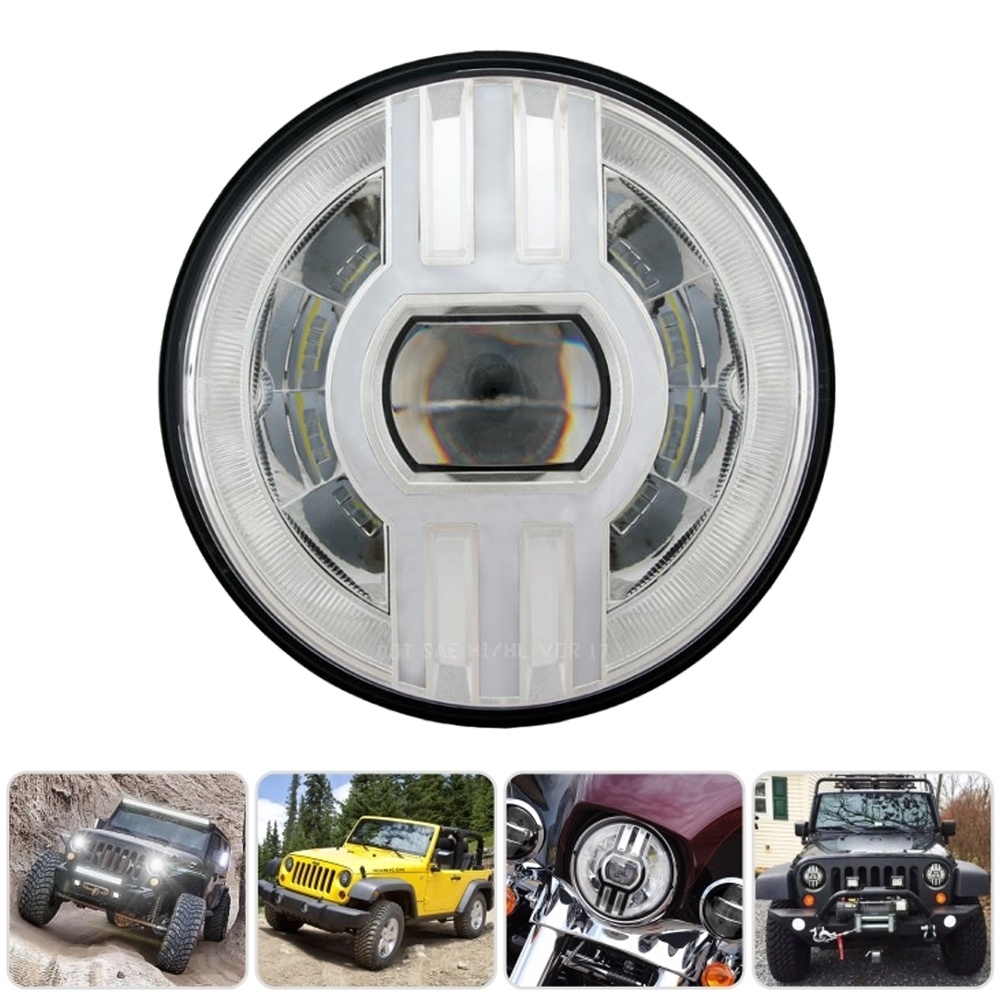 7 Inch High Low Beam Trinetra Projector 90W Led Headlight with DRL, Indicator & H4 Connector, Widely Used 9-32V DC for Royal Enfield, Harley & Thar Jeep