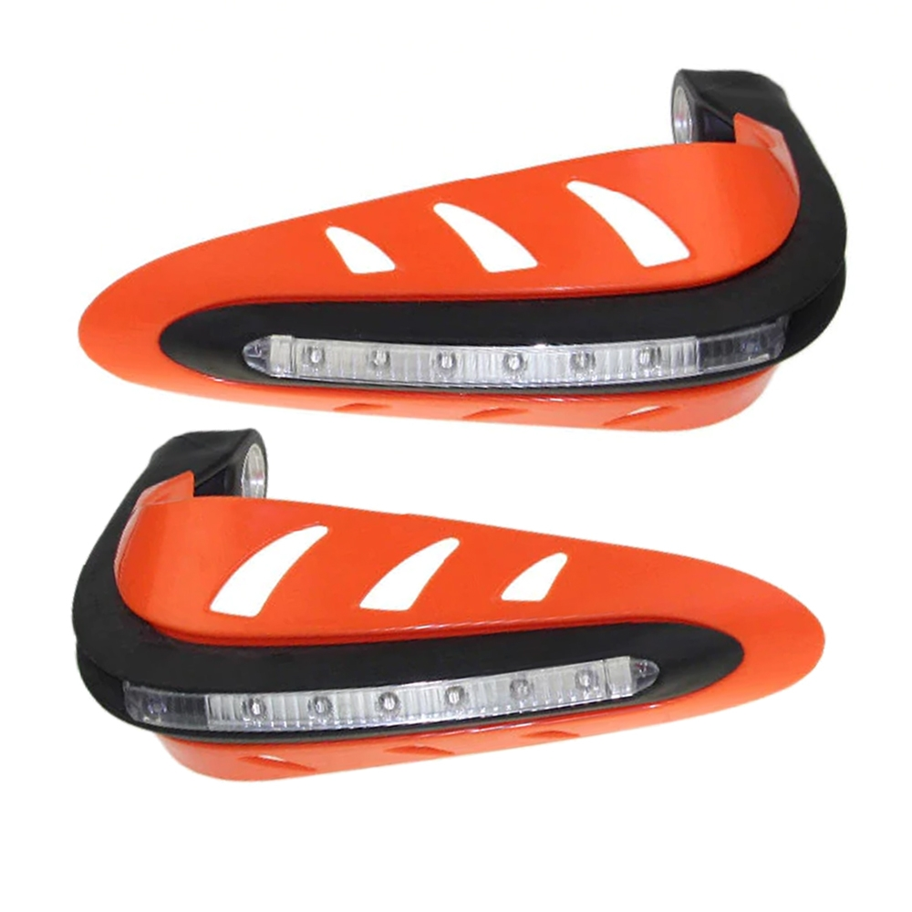 Orange Hand Guard Protector with LED Indicator Light, Knuckle Guards for Motorcycle & Dirt Bike with Mounting Kit