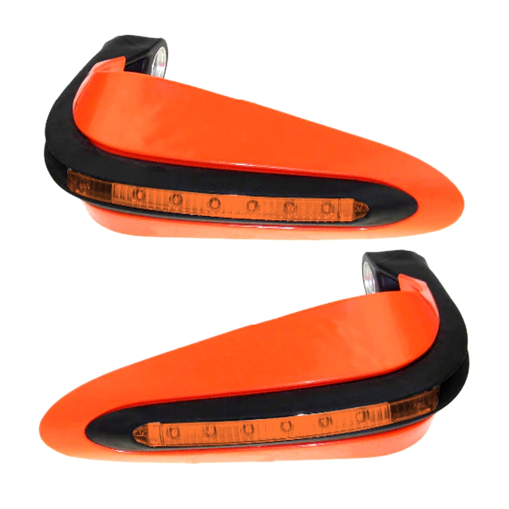 Orange Universal Handguards Protector with LED Indicator Light, Knuckle Guards for Motorcycle & Dirt Bike with Mounting Kit (Pack of 2)