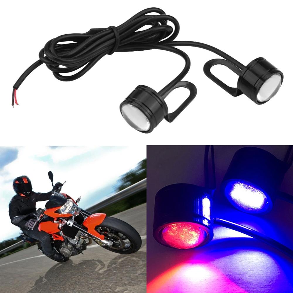 Red & Blue Green Waterproof 12V Motorcycle Mirror Mount Led Flash Strobe Light, Eagle Eye LED Strobe Backup DRL Lights Lamp, Warning Brake Light Lamp for Car & Bikes
