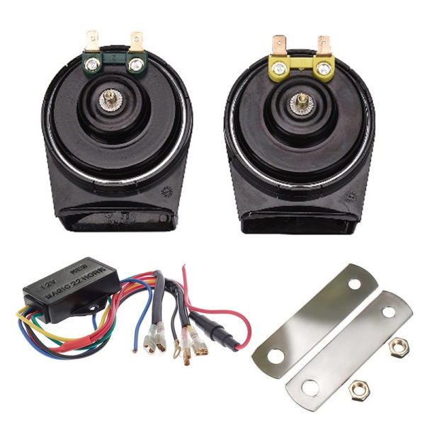 SSPEC 22 Sounds Magic 12V Windtone Horn 115dB 510Hz Auto Dual Snail Horn, Loud Horn for Car & Bikes (Set of 2)