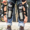 Alloy Steel Adjustable Unisex Knee Shin and Elbow Guard Armor Protector for Riders and Outdoor Sports (Black, Set of 4)
