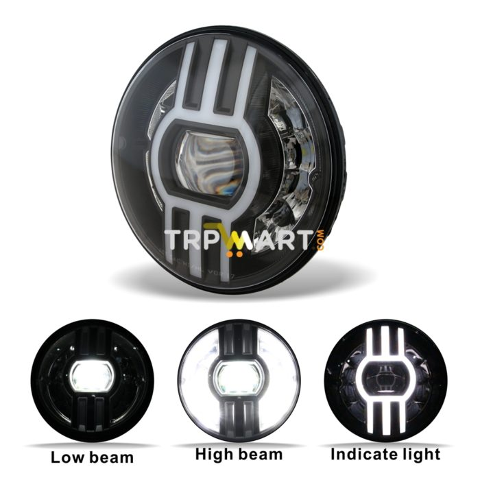 7 Inch High Low Beam Trinetra Projector 60W Led Headlight with White,  Yellow DRL Indicator & H4 Connector, Widely Used 9-32V DC for Royal  Enfield,