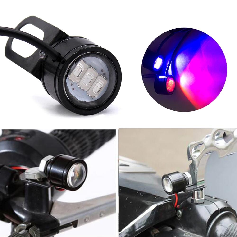 Waterproof 12V Motorcycle Mirror Mount Led Flash Strobe Light, Eagle Eye LED Strobe Backup DRL Lights Lamp, Warning Brake Light Lamp for Car & Bikes (1 Pair)