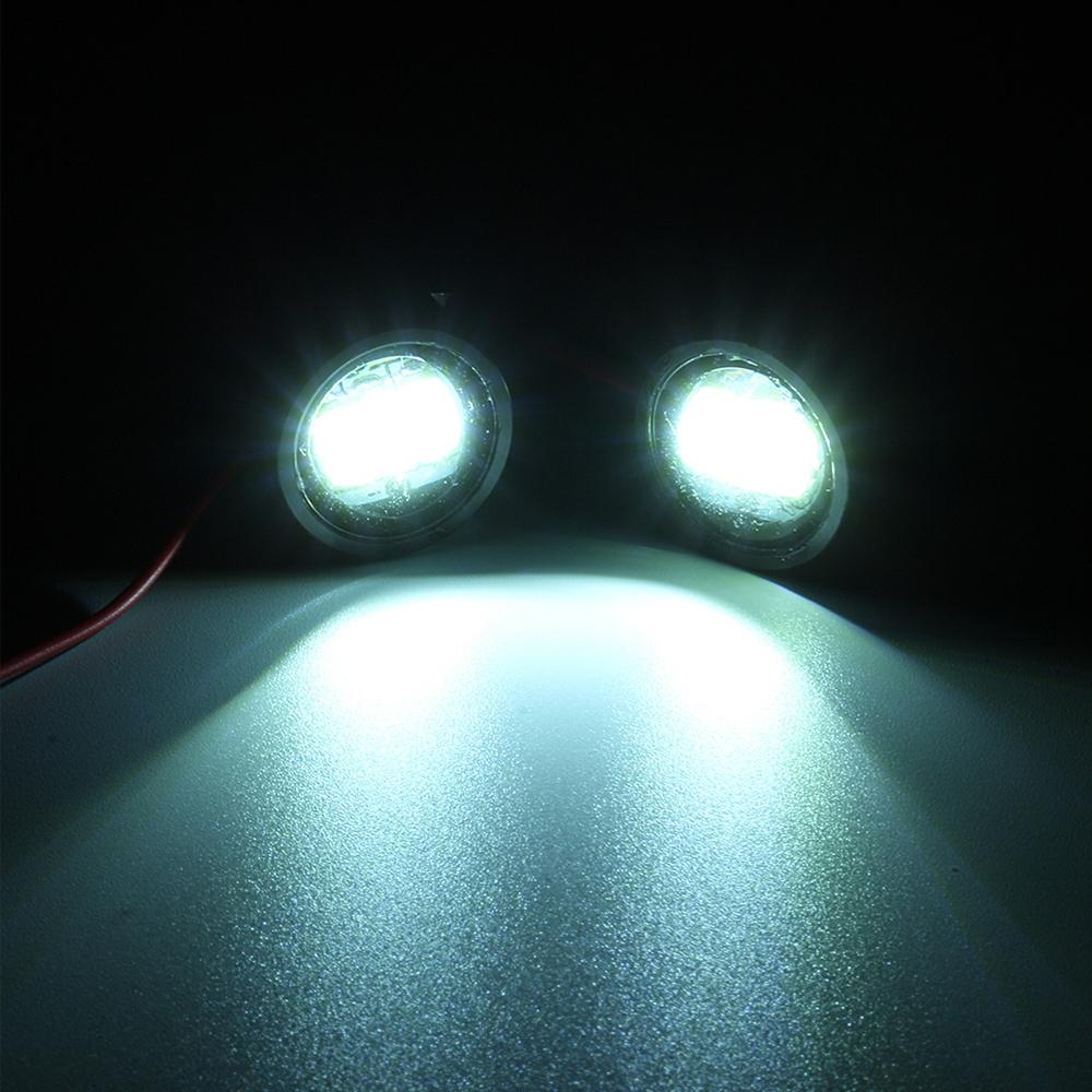 White Waterproof 12V Motorcycle Mirror Mount Led Flash Strobe Light, Eagle Eye LED Strobe Backup DRL Lights Lamp, Warning Brake Light Lamp for Car & Bikes (1 Pair)