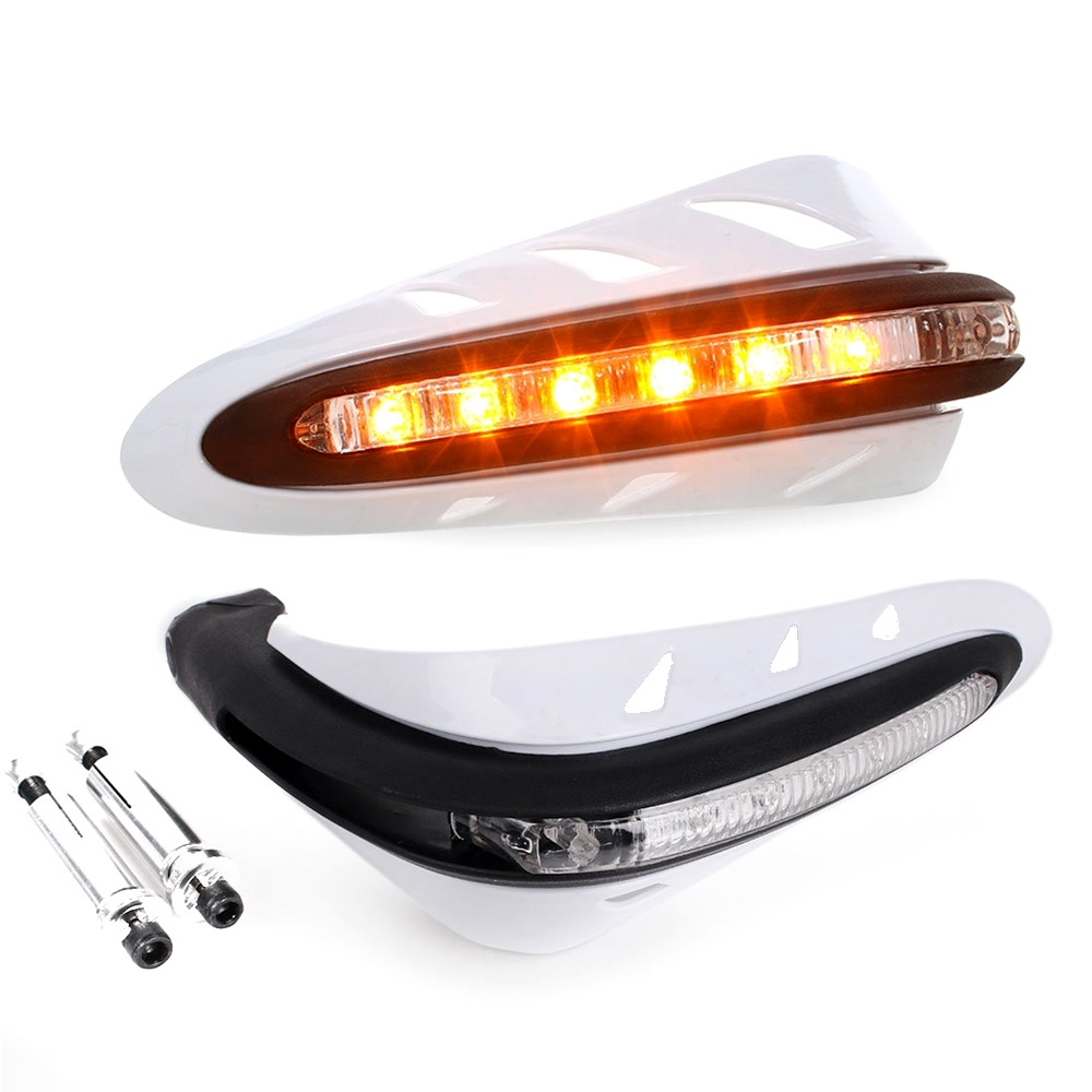 White Universal Hand Guard Protector with LED Indicator Light, Knuckle Guards for Motorcycle & Dirt Bike with Mounting Kit