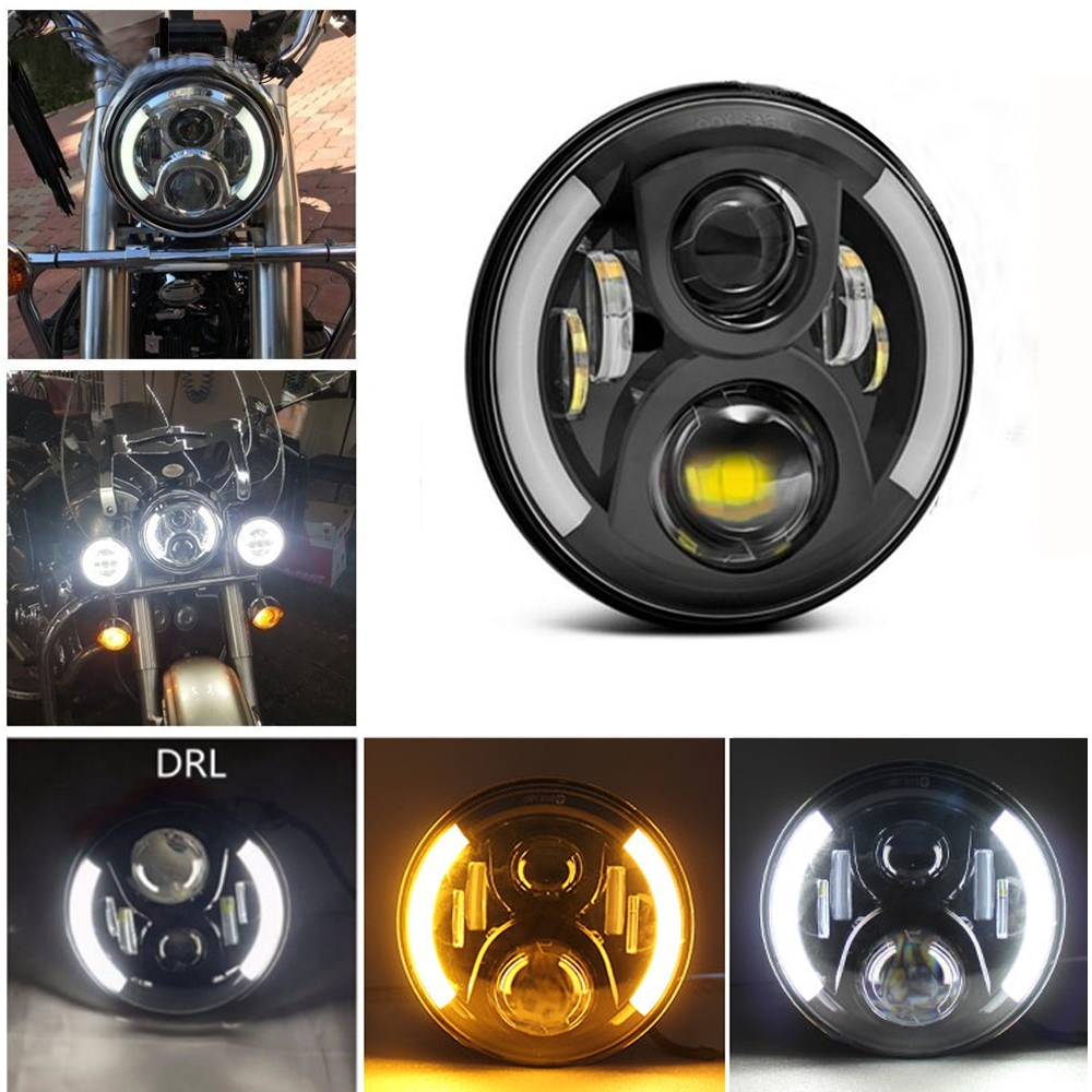 2 Cut DRL 5.75 Inch 45W High Low Beam & White, Yellow DRL/ Halo, LED Headlight with H4 Connector for Bajaj Avenger 150, Avenger 220 DTS-i, Harley Davidson,