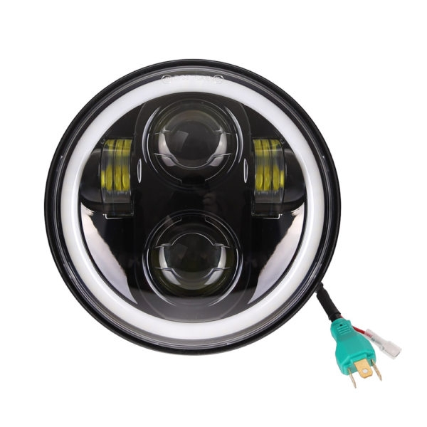 5.75 Inch 45W High Low Beam & White, Yellow DRL/ Halo, LED Headlight with H4 Connector for Bajaj Avenger 150, Avenger 220 DTS-i, Harley Davidson, Dyna Street Bob, Softail