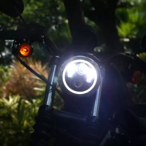 Full Ring 5.75 Inch 45W High Low Beam & White, Yellow DRL/ Halo, LED Headlight with H4 Connector for Bajaj Avenger 150, Avenger 220 DTS-i, Harley Davidson, Dyna Street Bob, Softail