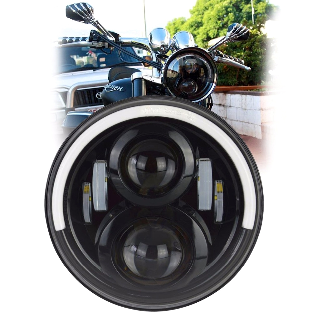 Half Ring 5.75 Inch 45W High Low Beam & White, Yellow DRL/ Halo, LED Headlight with H4 Connector for Bajaj Avenger 150, Avenger 220 DTS-i, Harley Davidson, Dyna Street Bob, Softail