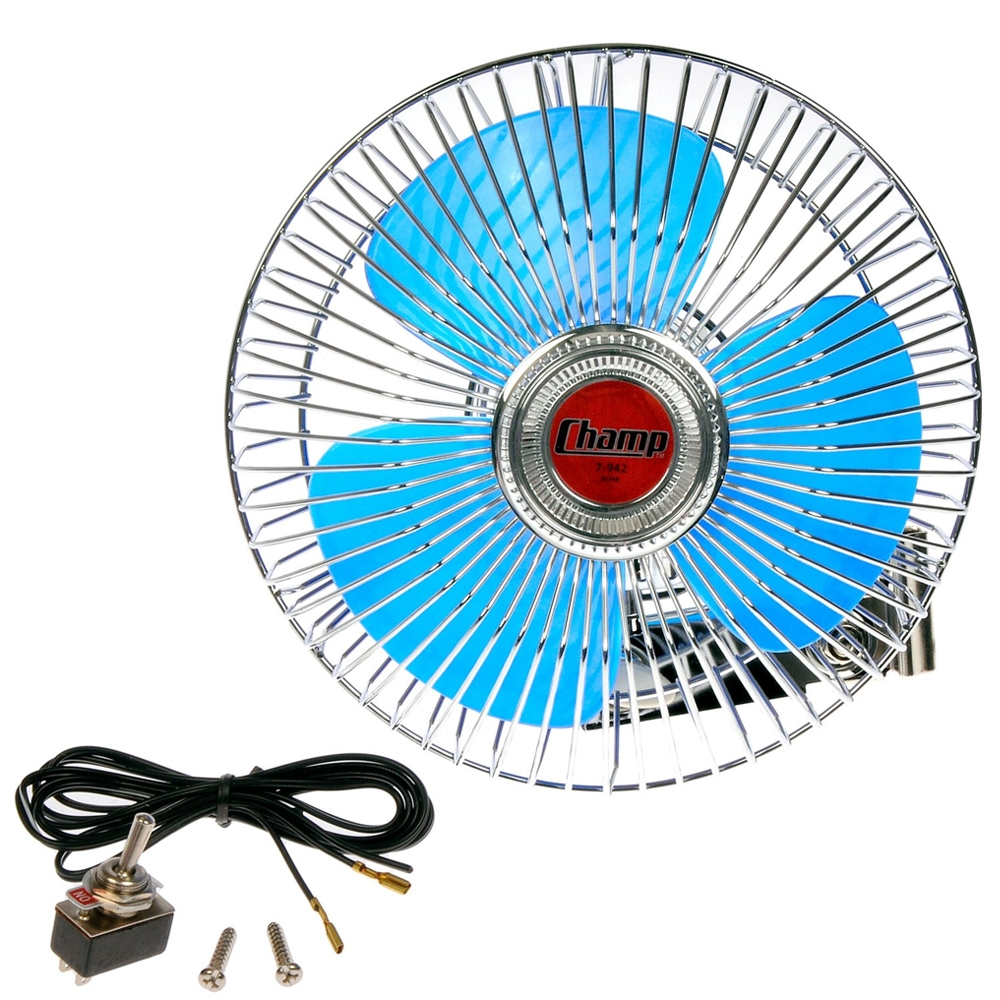 High Quality Oscillating 12 Volt Automotive Car Fan 6 Inches, 12V DC Power Fan for Car/ Jeep/ Trucks/ SUV's, Also Suitable for Home & Shop Use