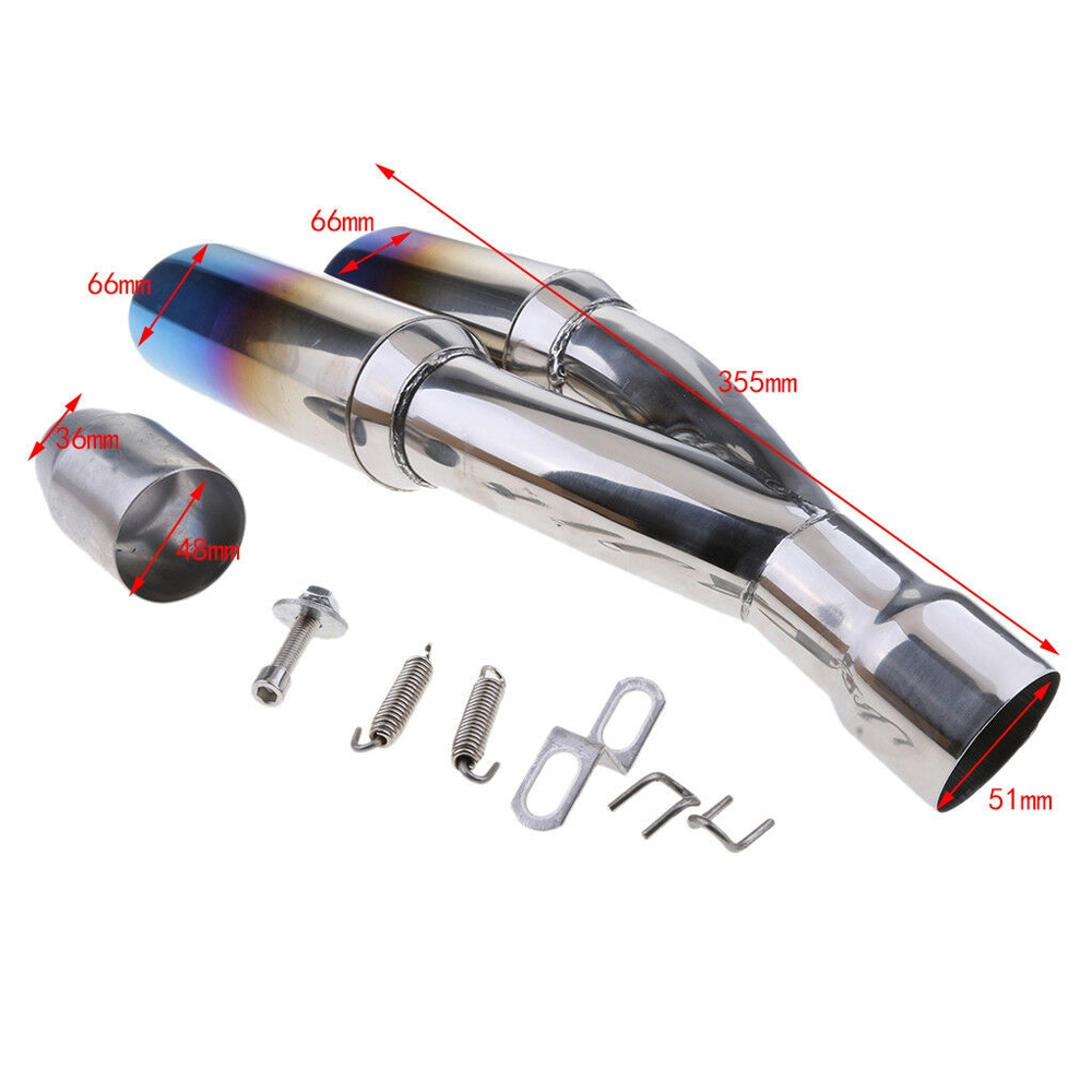 Universal Chrome Rainbow Blue Stainless Steel Double Twin Tip Tailpipe Exhaust Silencer with 36-51mm Muffler Pipe for all Bikes/ Motorcycle