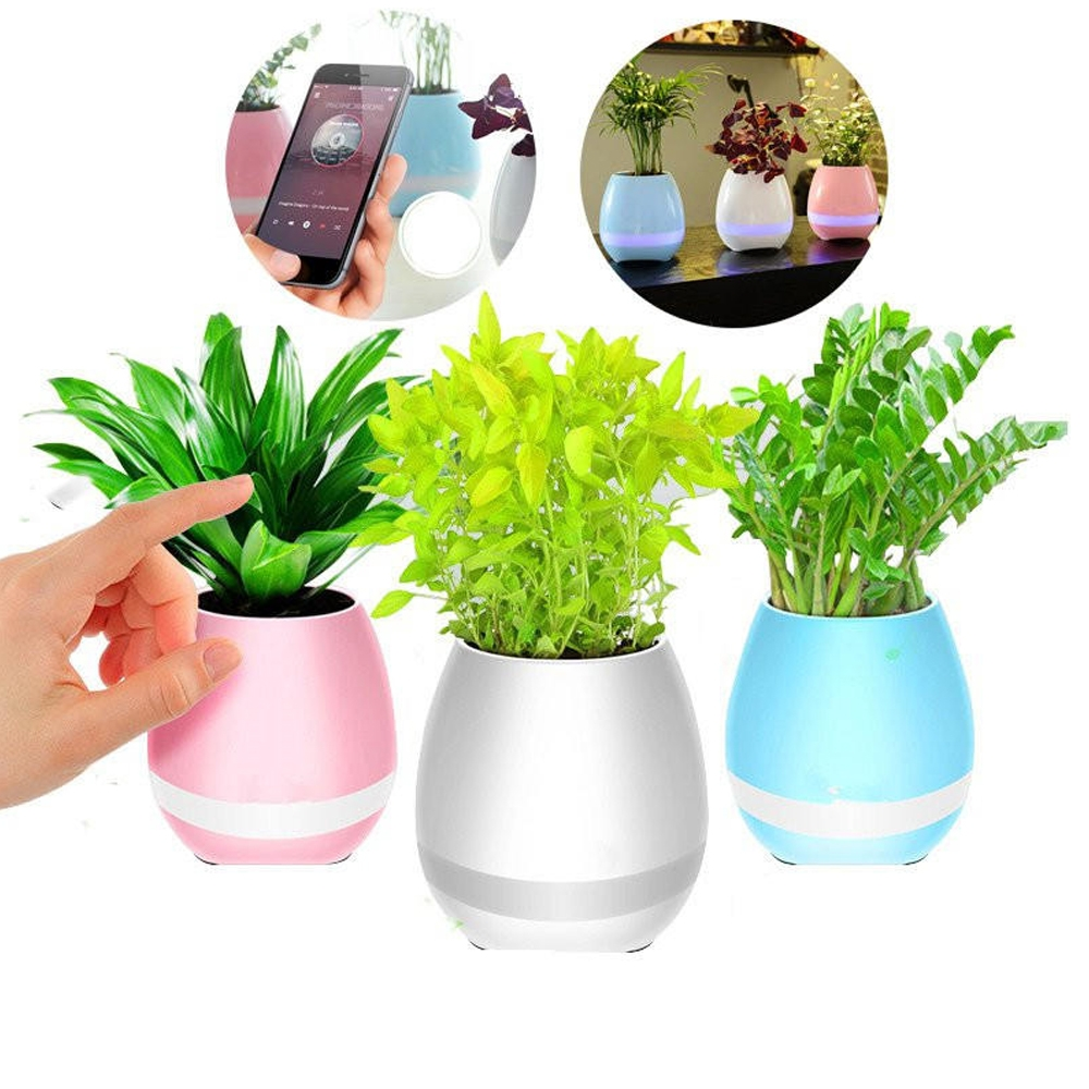 New K3 Smart Touch Music Flower Pots Bluetooth Speaker, Intelligent Real Plant Touch Play Flowerpot Colorful Light-long Time Play Bass Night Light