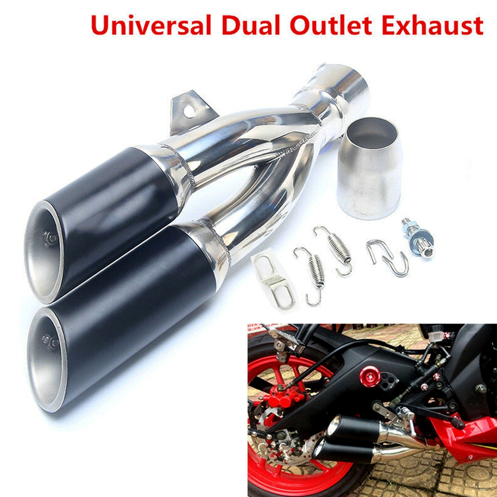 Universal Chrome Matt Black Stainless Steel Double Twin Tip Tailpipe Exhaust Silencer with 36-51mm Muffler Pipe for all Bikes/ Motorcycle