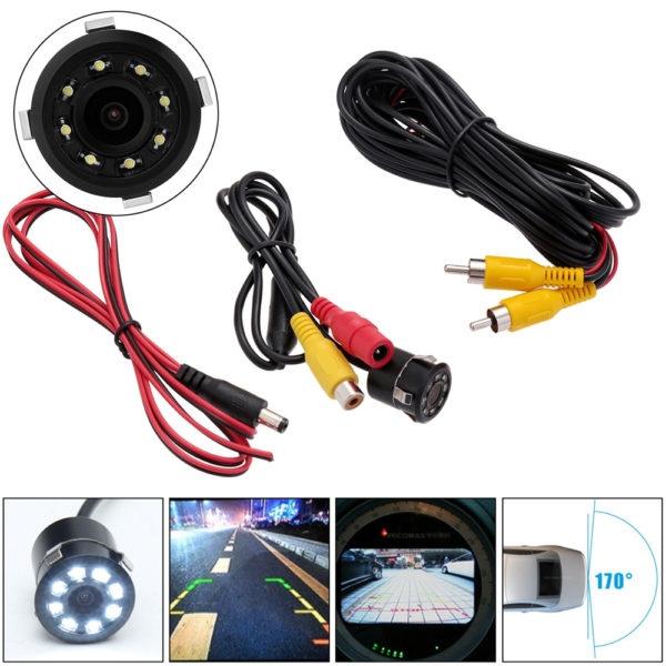 Waterproof Car Rear View Reversing Parking Camera, 8 LED 18.5mm CCD CMOS Night Vision Car Reverse Camera with Night Vision