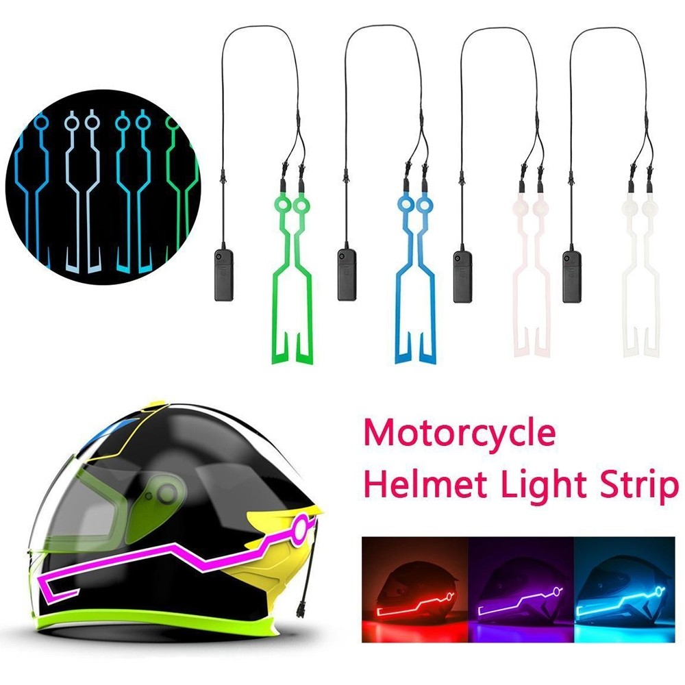 Motorcycle Helmet EL Cold Light Helmet Light Strip Night Riding Signal Flashing Modified Strip Helmet Sticker, Easy Install