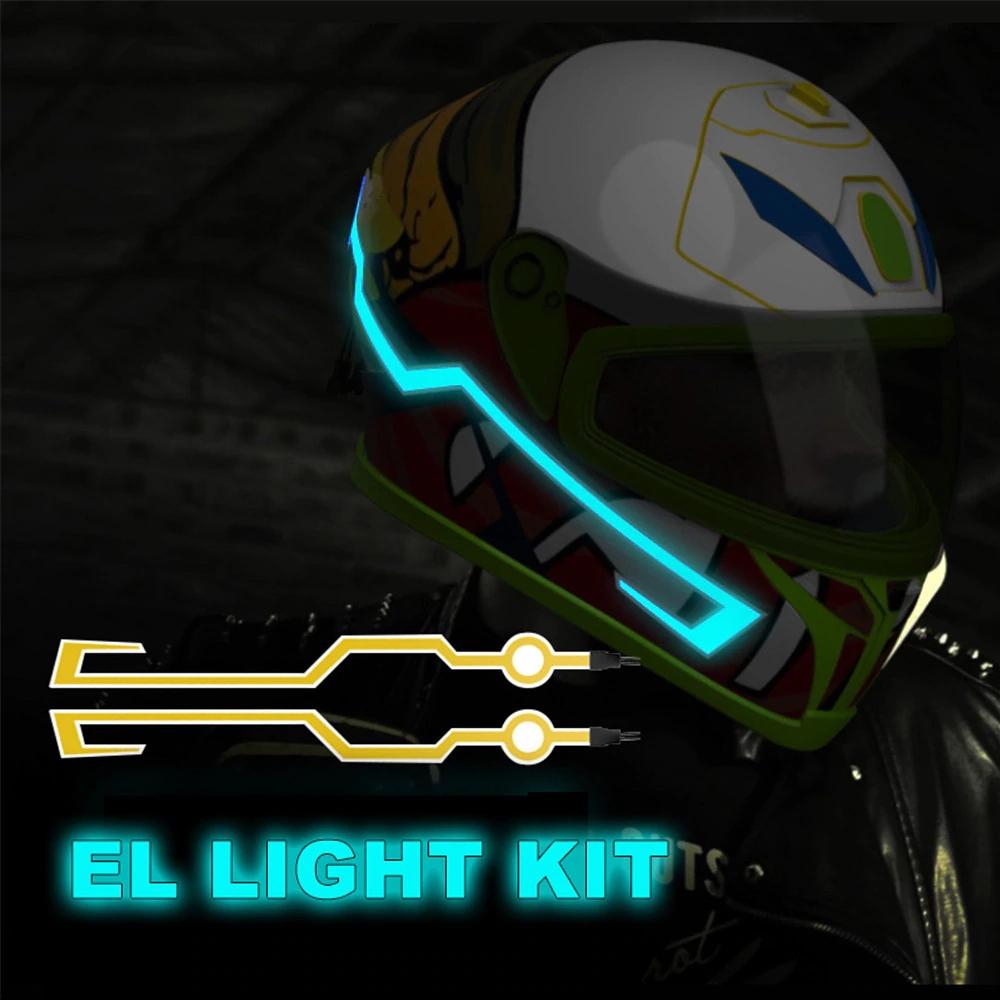 Motorcycle Helmet EL Cold Light Helmet Light Strip Night Riding Signal Flashing Modified Strip Helmet Sticker, Easy Install