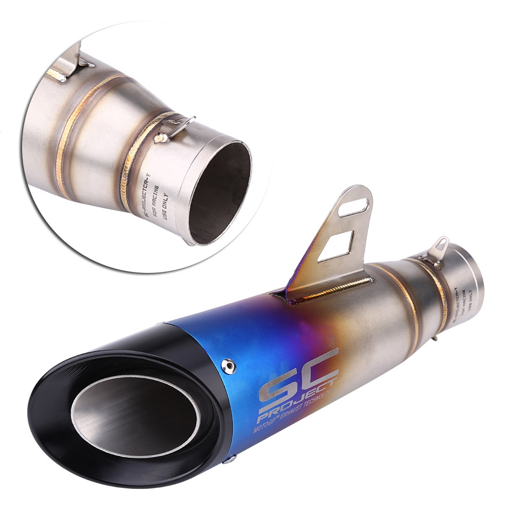 Universal SC Project Stainless Steel Multicolour Cut Exhaust Silencer with Black Head 36-51 mm Muffler Pipe for all Bikes/ Motorcycle