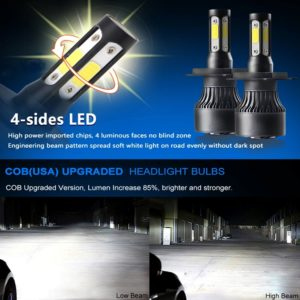 4 Sides COB S4 Headlight Conversion Bulb 36W H4 with Cooling Fan, 6500K White IP67 COB Bike/ Car LED Headlights High/ Low Beam Lamp Bulb