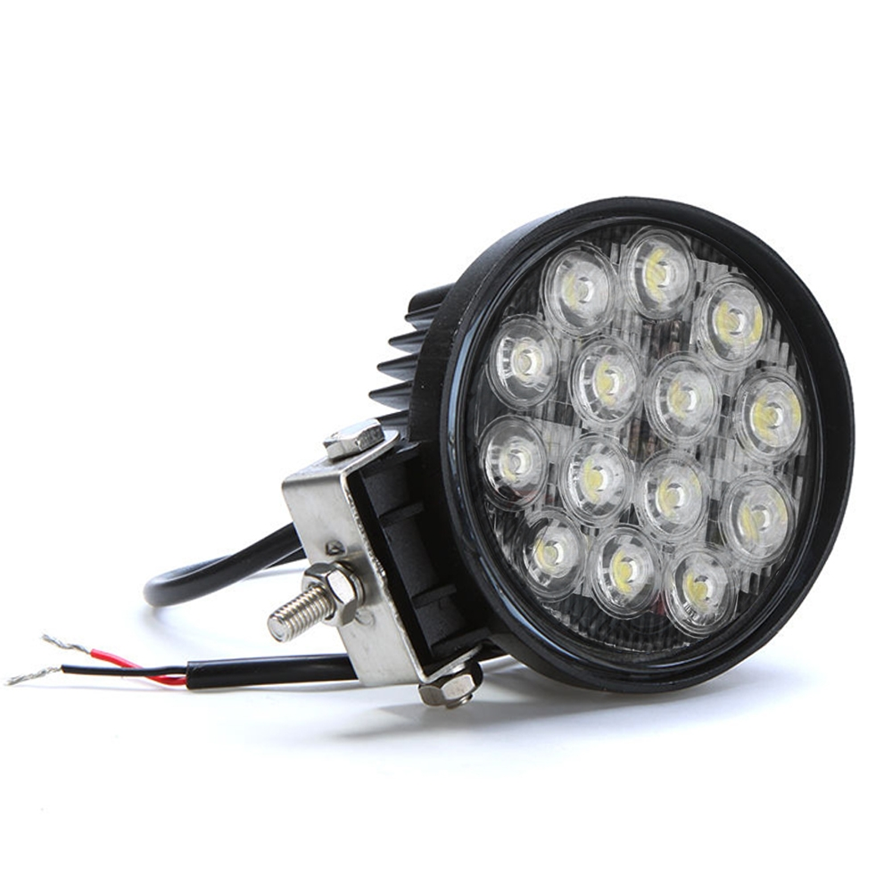 14 LED 42 Watt Round Fog Light 4 Inch Waterproof/ LED off Road/ Flood Light/ DRL Lamp with Mounting Brackets for Cars & Bikes, Royal Enfield, SUV, Truck, Boat