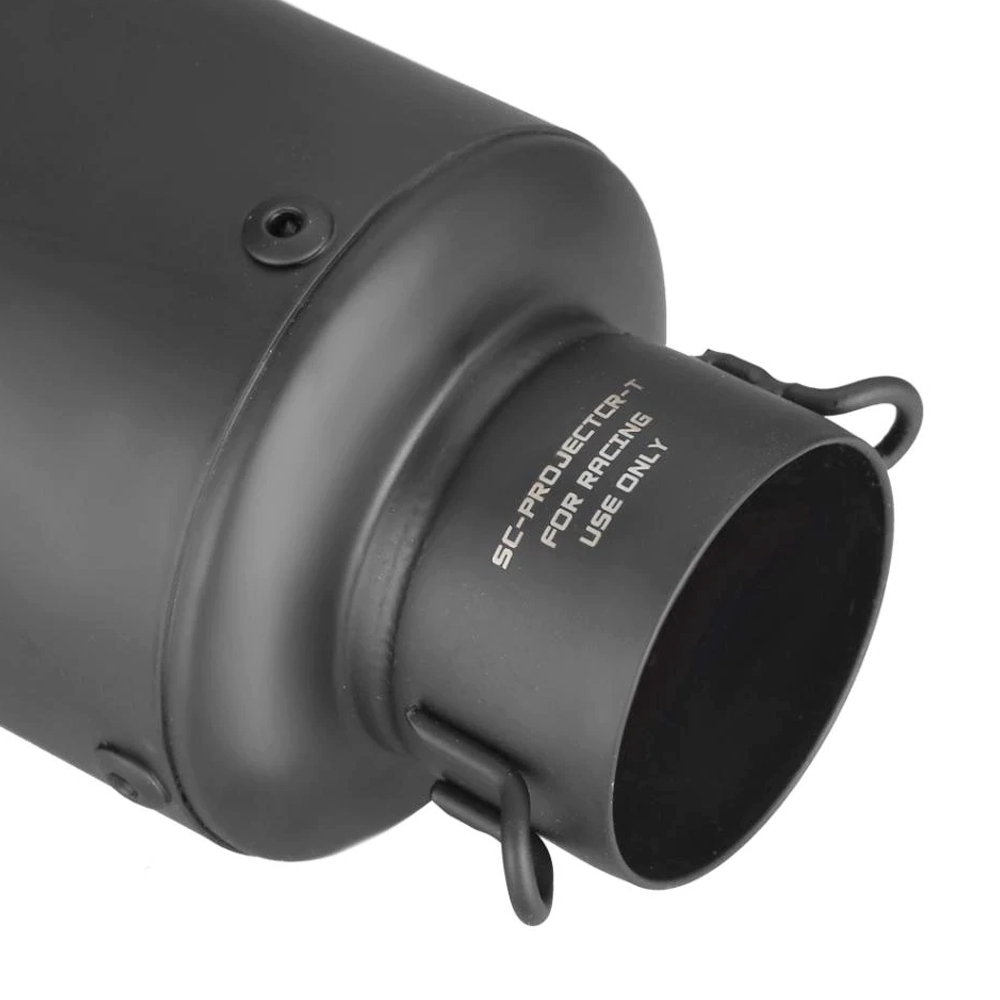 Black Universal Heavy Duty SC Project Bent End Exhaust Silencer, 36-51 mm Muffler Pipe for all Bikes/ Motorcycle