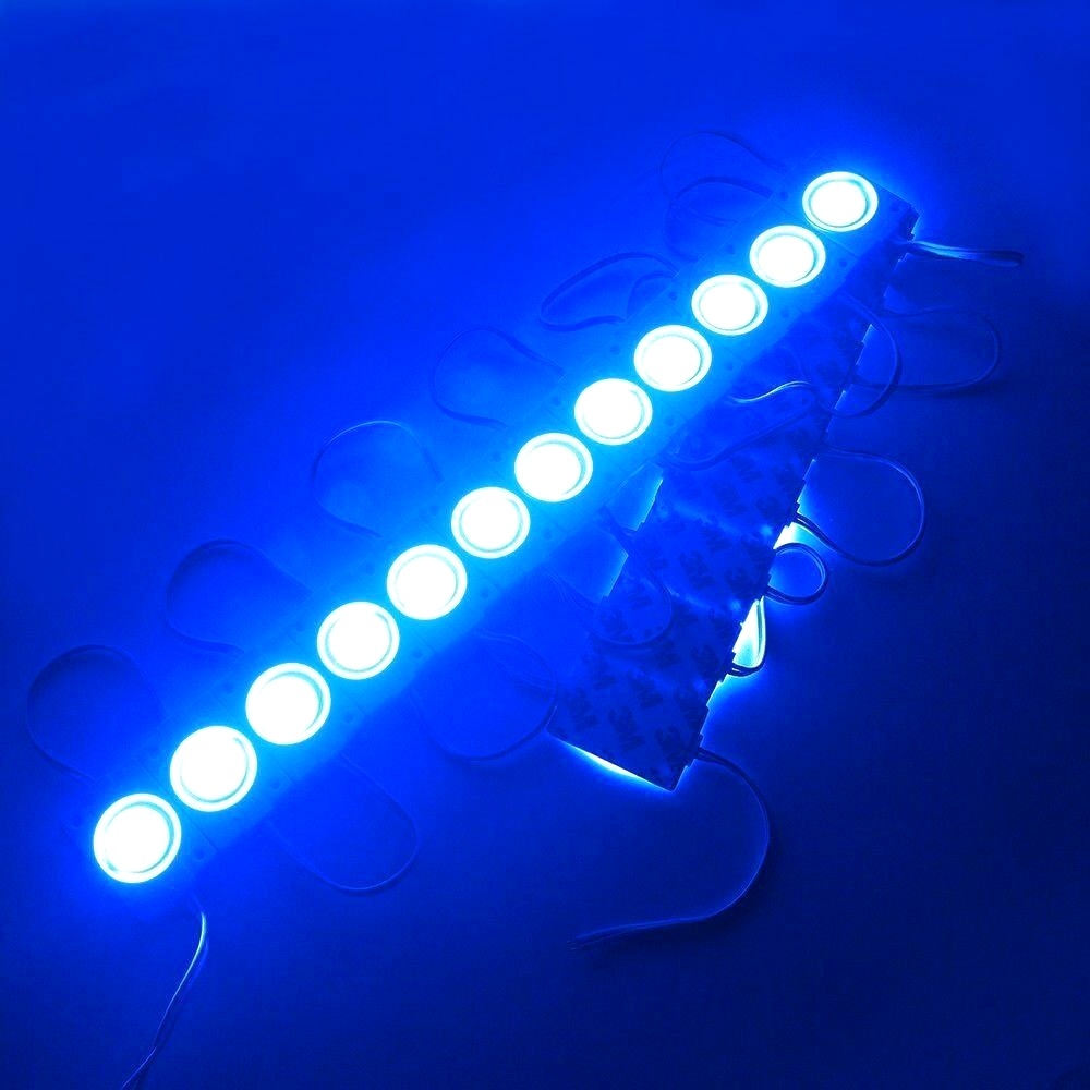 Blue Ultra Bright 2.4W COB LED Light Module, Bead Chip Light Strip, DIY, DC 12V, IP65 Waterproof, Injection COB LED 2.4W Module