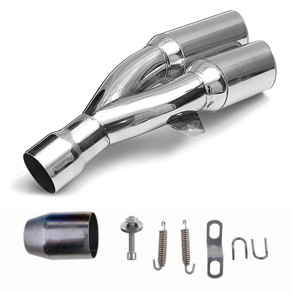 Universal Chrome Stainless Steel Double Twin Tip Tailpipe Exhaust Silencer with 36-51mm Muffler Pipe for all Bikes/ Motorcycle