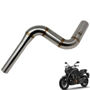 Stainless Steel Motorcycle Exhaust Middle Muffler Bend Pipe for Bajaj Dominar 400/ Bajaj Pulsar 200NS/ Bajaj Pulsar RS200, Dominar Bend Pipe Slip-On