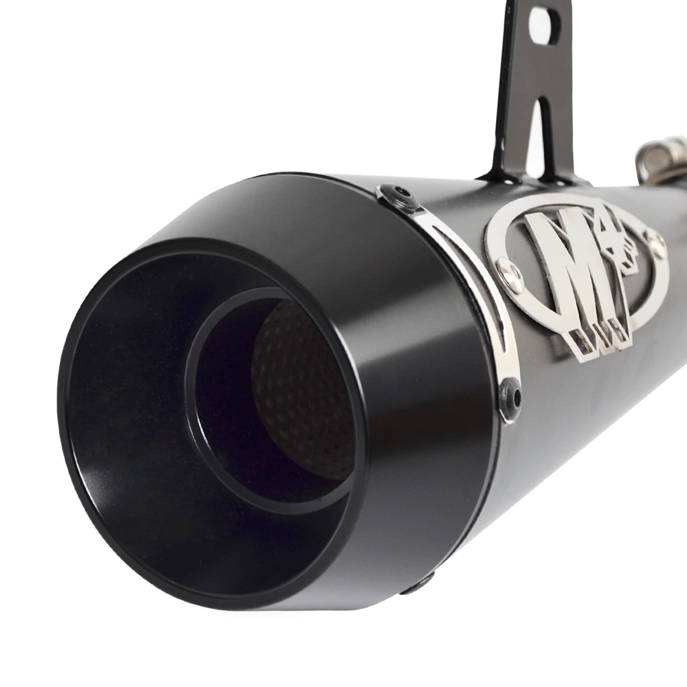 Black Universal Heavy Duty Grenade Launcher Shape M4 Exhaust Silencer, 36-51 mm Muffler Pipe for all Bikes/ Motorcycle