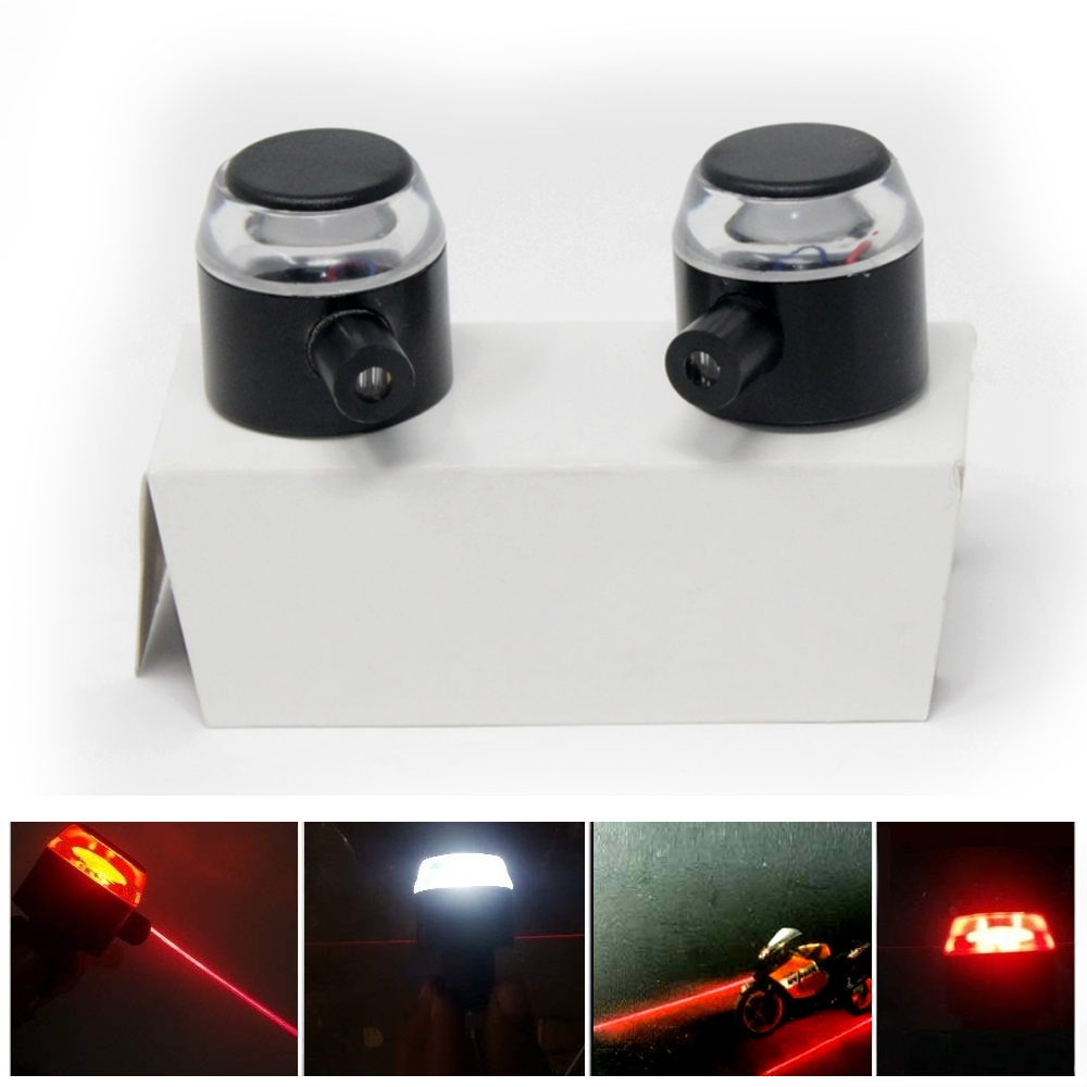 Universal 7/8'' 22 mm Handlebar Red Turn Signal Indicators, White DRL & Bar Laser Light, Handlebar Weight Grip Bar End LED Light