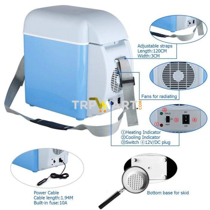 12V Portable Car Fridge 7 5L Capacity, Mini Car Refrigerator/ Warmer,  Thermoelectric Fridge for Travel, RV, Boat, Truck