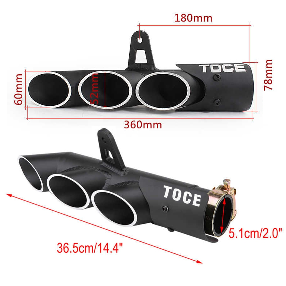 Universal Modified Aluminum TOEC Three-Outlet Exhaust Silencer, 36-51 mm Muffler Pipe for all Bikes/ Motorcycle