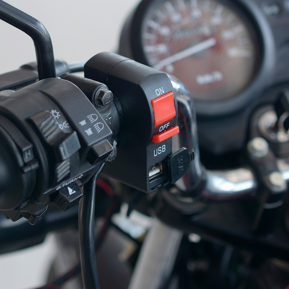 12V Universal 22mm 7/8″ Motorcycle Handlebar Switch ON OFF Button with USB Charging Port (2 Amp), 4 Wire Connectors
