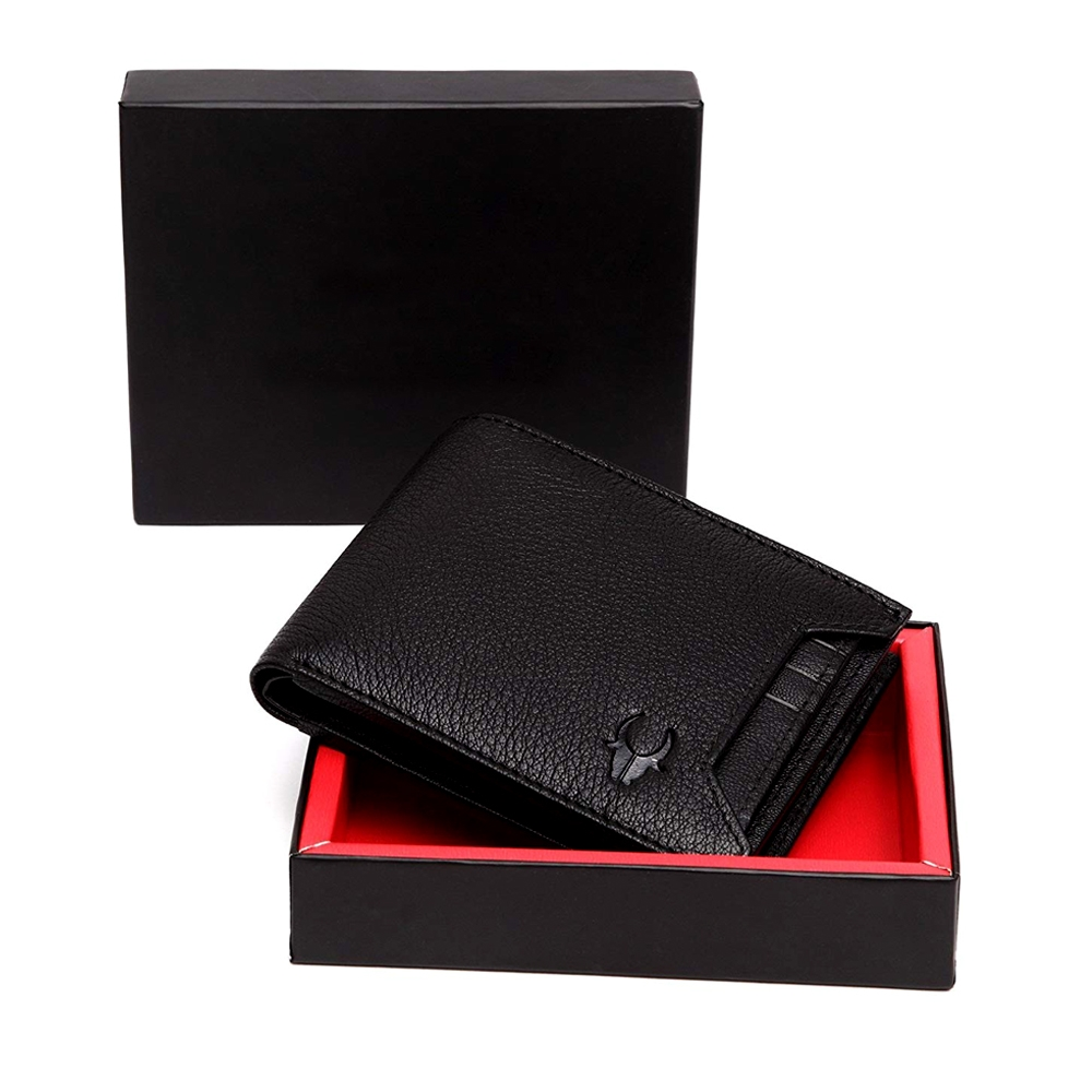 High Quality WildHorn Black Genuine Leather Wallet for Men, RFID Protected, Bi-Fold, Carries Cash & Coins with 6 Card Slots